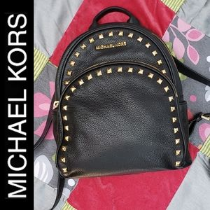 Michael Kors Studded Black Leather Backpack Purse